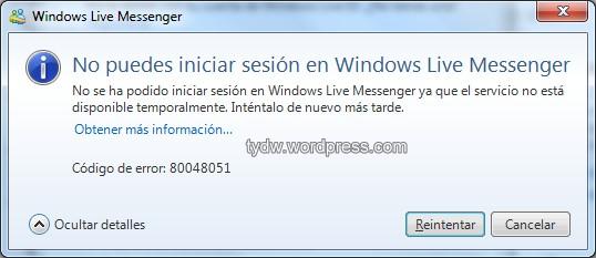 solucion no puedes iniciar sesión en windows live messenger error