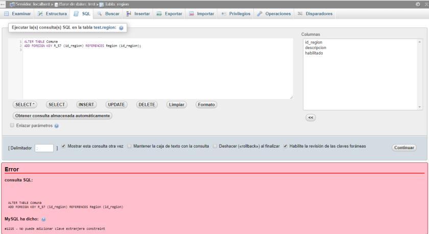 mysql error 1215 solucion
